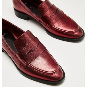 NEW Zara Metallic Red Loafers Size 7